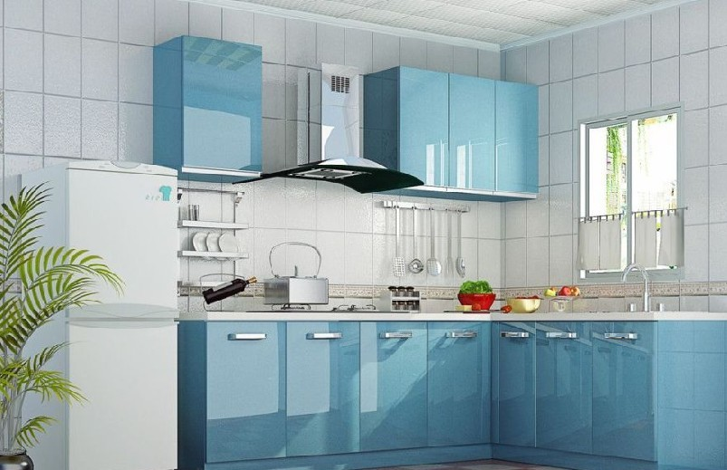The Combination Of A Kitchen Set With Color Rest Details In